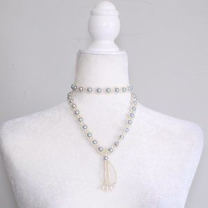 Jewelry - White and Silver Blue Beaded Long Necklace Choker